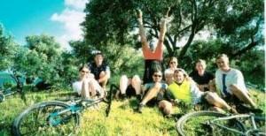 Bikepause mit Kopfstand