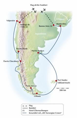 Gruppenreise / Rundreise um Südamerika: Kreuzfahrt auf den Spuren des Magellans
