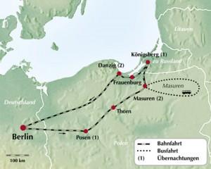 Karte Masuren Zugfahrt 2009