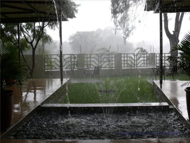 Ein wolkenbruchartiger Regen