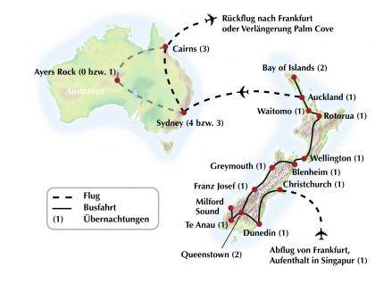 """Gruppenreise / Rundreise durch Neuseeland und Australien- """"Erst Kiwi, dann Koala"""""""