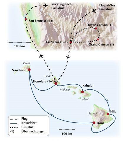 Gruppenreise / Rundreise in den Wilden Westen der USA mit exklusiver Kreuzfahrt im Ferienparadies Hawaii
