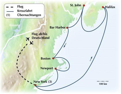 USA Kanada-Ost Kreuzfahrt: 12-tägige Rundreise / Gruppenreise durch Neuengland und Kanada mit New York