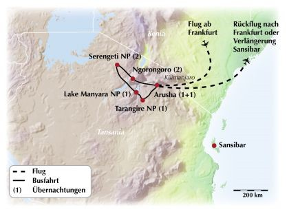 Gruppenrundreise durch Tansania – Vom Kilimandscharo bis zur Serengeti Savanne