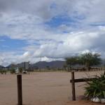 Blick auf die Berge von der Lodge aus
