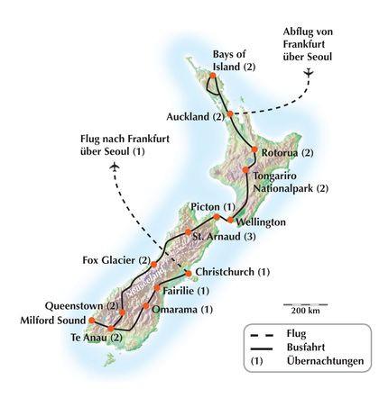 Gruppenreise / Rundreise durch Neuseeland eine exklusive Wanderreise in 25 Tagen