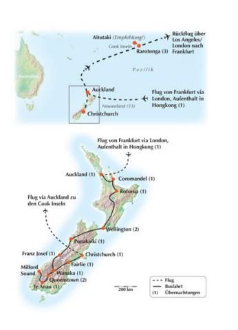 Hongkong, die Nord- und Südinsel Neuseelands und die Cook Inseln Rundreise -Gruppenreise
