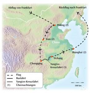 Karte Flusskreuzfahrt China Reise