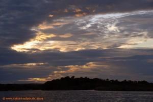 Victoria Falls, Sonnenuntergang über dem Sambesi Fluss
