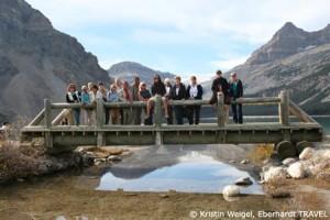 Unsere Reisegruppe am Bow Lake und Bow-Gletscher