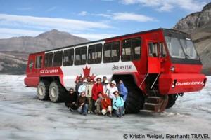 Auf dem Athabasca-Gletscher am Columbia Icefield