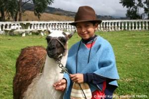 Indio-Junge und sein Lama im Andenhochland