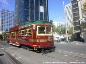 Mit der historischen Straßenbahn fuhren wir durch die Innenstadt Melbournes