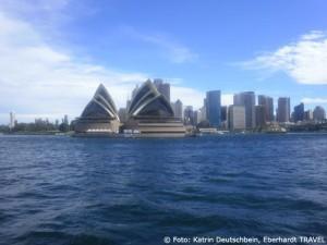 Die Skyline von Sydney bei unserer Hafenrundfahrt