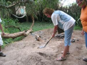 Ausgraben der Pachamanca