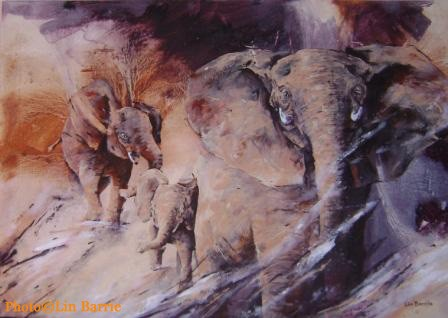 Elephant painting by Lin Barrie - Title: &quot;Angry Mother&quot;