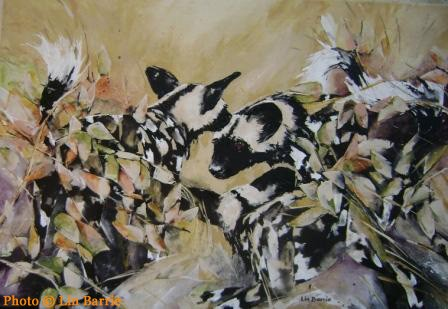 "Wild dog painting by Lin Barrie - Title: ""Concern"""