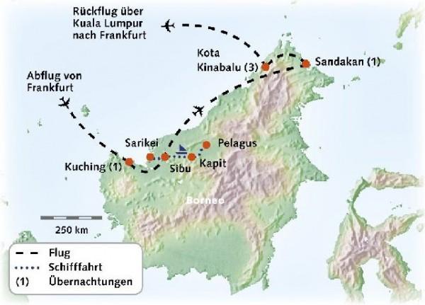 Routenkarte-Borneo-17Tage