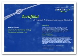 atmosfair Zertifikat Beispiel