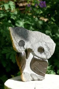 Die Steinskulptur fertiggestellt