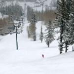 einsame Skiabfahrt in Deer Valley