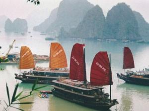 Dschunken in der Halong Bucht-Vietnam
