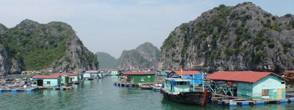 Schwimmende Dörfer in der Halong Bucht - Vietnam