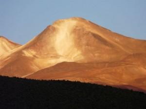 Der Vulkan Uturuncu von Queteno Chico aus