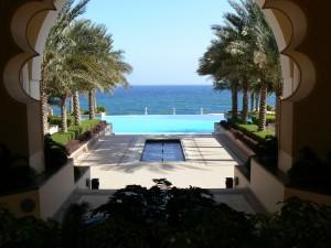 Der überragende Ausblick vom Al Husn Hotel auf den Golf von Oman.