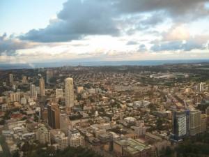 Panorama aus dem Sydney Tower auf die Stadt