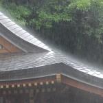 Hart schlägt der kurze Regenschauer auf das Dach eines Tempelgebäudes