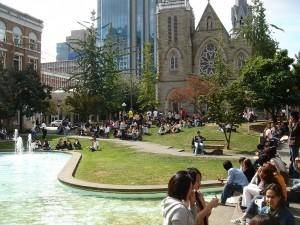 Pause an der frischen Luft während des Vancouver Sprachkurses