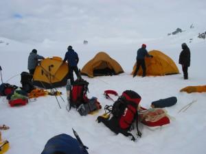 Zelten in der Antarktis