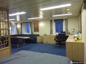 Eine großzügige Kabine auf einer Containerschiff Reise