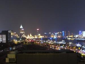 ein Abschiedsblick auf Schanghai von unserem Hotelzimmer