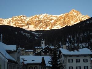 Panorama von Savognin an Fasching