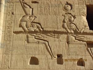 Hieroglyphen an Tempelmauer