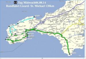 Karte Tagestour Lizard Point bis St. Michaels Mount