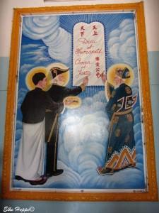 ein Leitspruch im Cao Dai Tempel