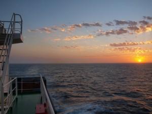 Sonnenuntergang auf den Brasilien Frachtschiffreisen