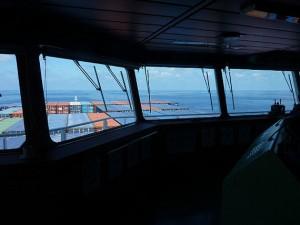 Blick von der Brücke auf der Frachtschiff Reise Asien