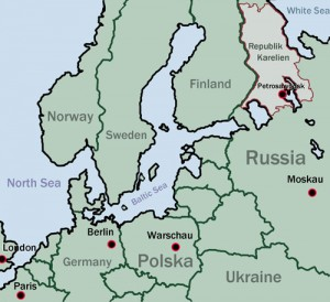 Karte, mit Karelien, Russland und Europa