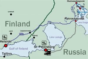 Karte, vom Flughafen nach Karelien