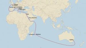 Die Frachtschiffreisen Route nach Australien