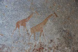 Giraffen-Felsmalereien in Nswatugi Cave in den Matobo Hills