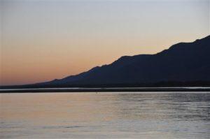 Die Sonne geht unter am Sambesi Fluss